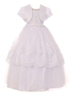Big Girls White Pearl Sequin Floral Lace Tulle Satin Bolero Communion Dress 7-20