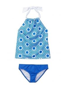 Azul Big Girls Blue White Namaste Tankini 2 Pc Swimsuit 7-14