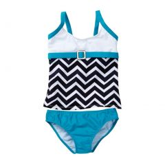 Azul Little Girls Blue White Chevron Jagged Edge 2 Pc Tankini Swimsuit 4-6