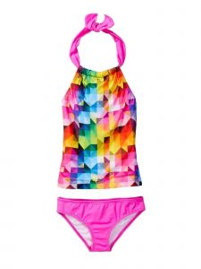 Azul Little Girls Pink Multi Diamond Generation Y 2 Pc Tankini Swimsuit 4-6