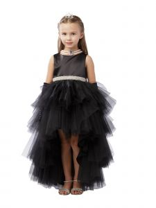 Big Girls Black Hi-Low Multi Level Ruffle Tutu Junior Bridesmaid Dress 8-12