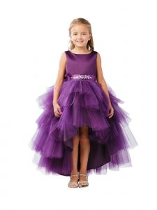 Big Girls Eggplant Hi-Low Multi Level Ruffle Tutu Junior Bridesmaid Dress 8-12