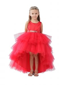 Big Girls Red Hi-Low Multi Level Ruffle Tutu Junior Bridesmaid Dress 8-12
