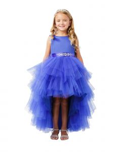 Little Girls Royal Blue Hi-Lo Multi Level Ruffle Tutu Flower Girl Dress 2-6