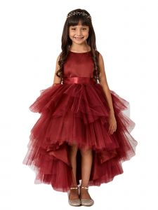 Little Girls Burgundy Sash Ruffled Tulle High-Low Flower Girl Dress 2-6