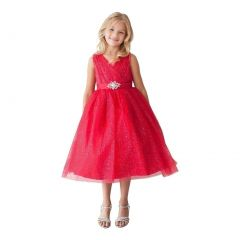 Little Girls Red Glitter Tulle V-Neck Rhinestone Brooch Flower Girl Dress 2-6