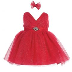 Baby Girls Red Glitter Tulle V-Neck Rhinestone Brooch Flower Girl Dress 6-24M