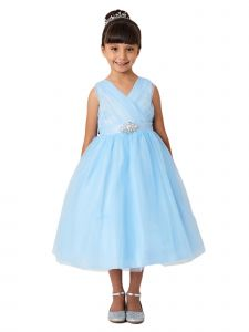 Little Girls Sky Blue V-Neck Glitter Tulle Brooch Flower Girl Dress 2