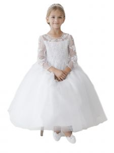 Tip Top Kids Big Girls White Floral Lace Applique Mesh Communion Dress 8-14