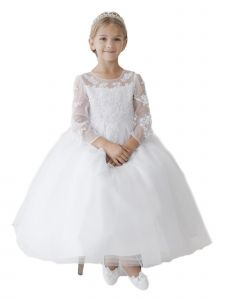 Big Girls White Long Sleeve Illusion Neck Lace Plus Size Communion Dress 6-20X