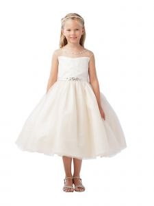 Little Girls Champagne Illusion Beaded Lace Belted Flower Girl Dress 2-6