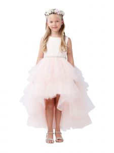 Little Girls Blush Lace Bodice Beaded Sash Hi-Low Flower Girl Dress 2-6