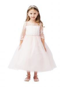 Big Girls Blush Three Quarter Lace Sleeve Tulle Junior Bridesmaid Dress 8-12