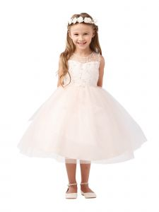 Big Girls Blush Illusion Neck Heart Key-Hole Back Junior Bridesmaid Dress 8-12