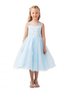 Big Girls Blue Illusion Neck Heart Key-Hole Back Junior Bridesmaid Dress 8-12
