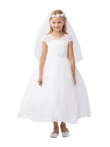 Big Girls White Illusion Neckline Rhinestone Lace Applique Communion Dress 10