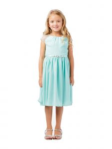 Big Girls Aqua Ilussion Short Sleeved Chiffon Junior Bridesmaid Dress 8-12