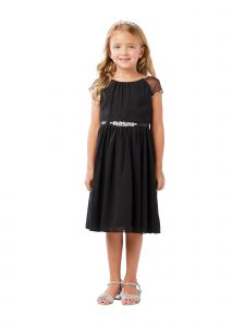 Big Girls Black Ilussion Short Sleeved Chiffon Junior Bridesmaid Dress 8-12
