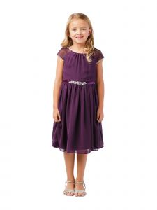 Big Girls Eggplant Ilussion Short Sleeved Chiffon Junior Bridesmaid Dress 8-12