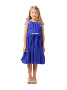 Little Girls Royal Blue Ilussion Short Sleeved Chiffon Flower Girl Dress 2-6