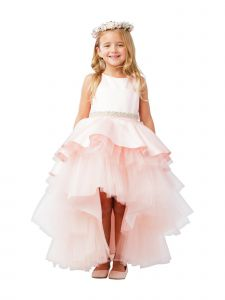 Little Girls Blush Satin Overlay Rhinestone Hi-Low Flower Girl Dress 2-6