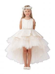 Big Girls Champagne Satin Overlay Rhinestone Hi-Low Junior Bridesmaid Dress 8-14