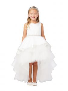 Little Girls Ivory Satin Overlay Rhinestone Hi-Low Flower Girl Dress 2-6