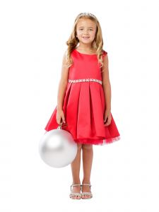 Big Girls Red Rhinestone Tulle Satin Pleated Junior Bridesmaid Dress 8-12