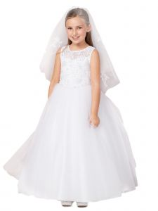 Tip Top Kids Big Girls White Illusion Neck Lace Long Communion Dress 7-18