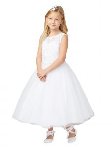 Big Girls White Illusion Lace Tulle Junior Bridesmaid Communion Dress 14