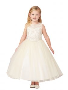 Big Girls Champagne Illusion Lace Tulle Junior Bridesmaid Easter Dress 8-16