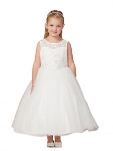Little Girls Ivory Illusion Lace Tulle Flower Girl Easter Dress 2-6