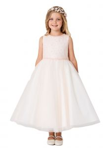 Big Girl Blush Criss Cross Pearl Tulle Junior Bridesmaid Dress 14
