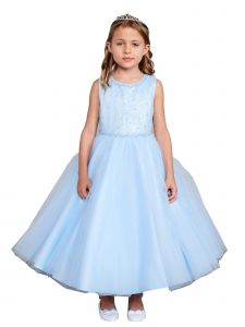 Little Girl Sky Blue Criss Cross Pearl Tulle Flower Girl Dress 6