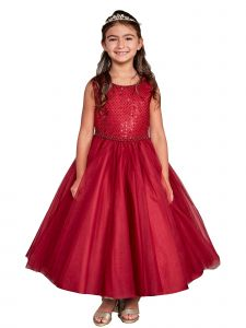 Little Girl Burgundy Criss Cross Pearl Tulle Flower Girl Dress 2