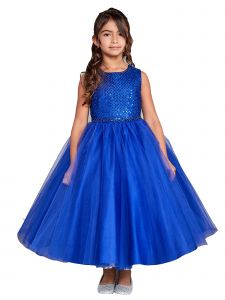 Little Girl Royal Blue Criss Cross Pearl Tulle Flower Girl Dress 6