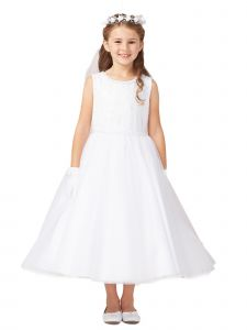 Tip Top Kids Big Girls White Pearls Tulle Embroidery Communion Dress 16