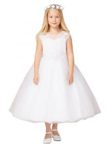 Big Girls White Illusion Neck Lace Tulle Communion Dress 7