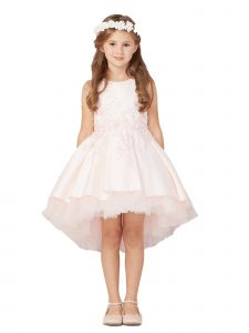 Tip Top Kids Little Girls Blush Pink Hi-Low Lace Tulle Flower Girl Dress 2-6