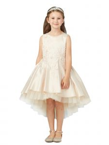 Tip Top Kids Little Girls Champagne Pink Hi-Low Lace Tulle Flower Girl Dress 2-6