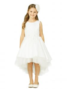 Tip Top Kids Big Girls Ivory Pink Hi-Low Lace Tulle Junior Bridesmaid Dress 8-16