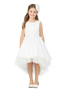 Tip Top Kids Big Girls White Pink Hi-Low Lace Tulle Junior Bridesmaid Dress 8-16