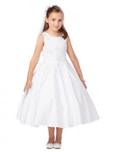 Tip Top Kids Big Girls Ivory Floral Embroidery Sleeveless Communion Dress 8-14