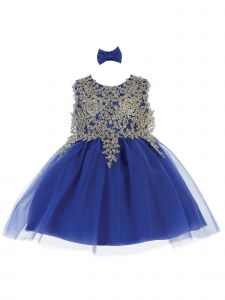 Tip Top Kids Baby Girls Royal Blue Lace Applique Tulle Pageant Dress 6-24M