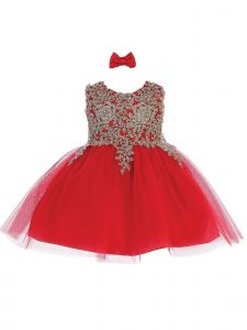 Tip Top Kids Baby Girls Red Lace Applique Tulle Pageant Dress 6-24M
