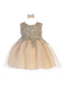 Tip Top Kids Baby Girls Champagne Lace Applique Tulle Pageant Dress 6-24M