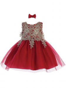 Tip Top Kids Baby Girls Burgundy Lace Applique Tulle Pageant Dress 6-24M