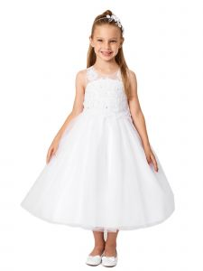 Big Girls White Illusion Neck Embroidered Tulle Bow Junior Bridesmaid Dress 8