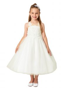 Big Girls Ivory Illusion Neck Embroidered Tulle Bow Junior Bridesmaid Dress 8
