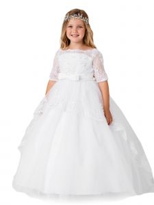 Girls Multi Color Off Shoulder Lace Peplum Long Tail Communion Dress 8-16